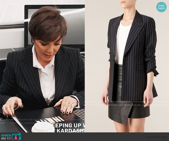 Pinstripe Blazer by Saint Laurent worn by Kris Jenner  on Keeping Up with the Kardashians