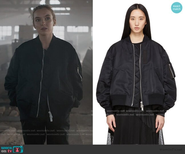 Black MA-1 Bomber Jacket by Sacai worn by Villanelle (Jodie Comer) on Killing Eve