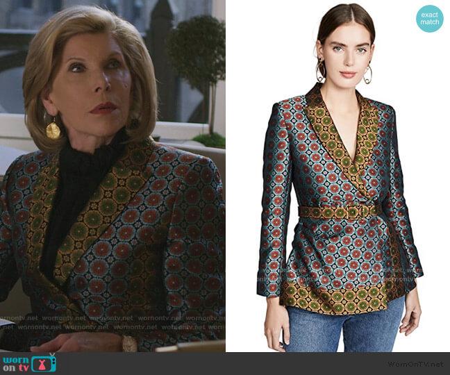Maxima Jacket by Saloni worn by Diane Lockhart (Christine Baranski) on The Good Fight