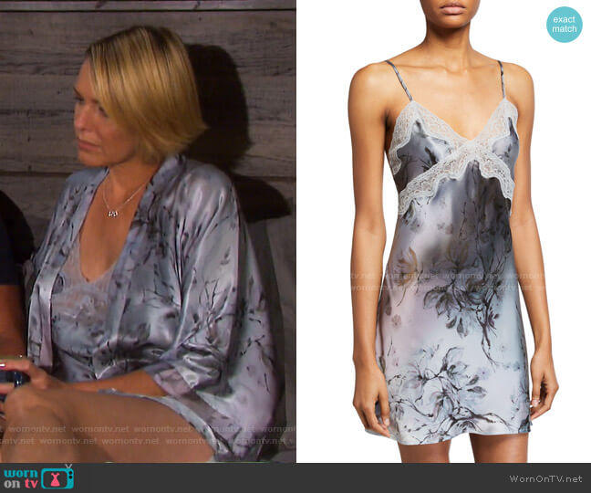 Floral-Print Classic Lace-Trim Chemise by Samantha Chang worn by Nicole Walker (Arianne Zucker) on Days of our Lives