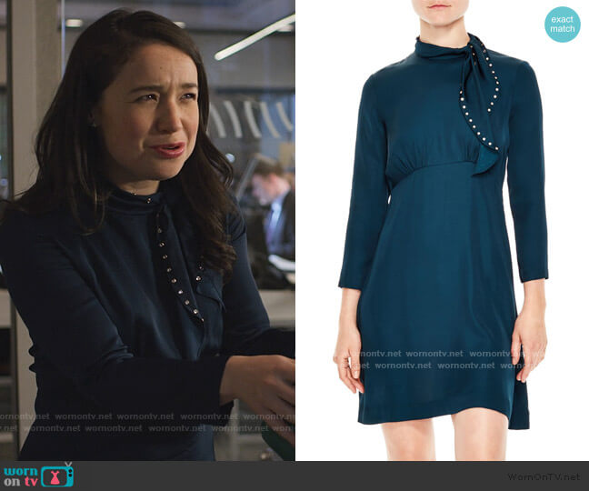 Embellished Tie Neck Dress by Saloni worn by Marissa Gold (Sarah Steele) on The Good Fight