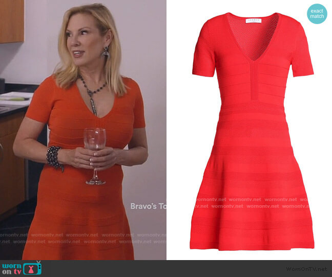 V-neck ribbed-knit dress by Sandro worn by Ramona Singer  on The Real Housewives of New York City