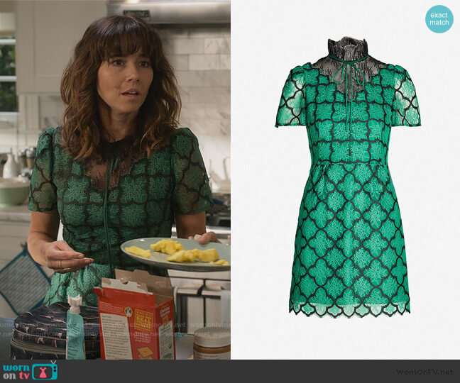 Ritta contrast-panel floral-lace dress by Sandro worn by Judy Hale (Linda Cardellini) on Dead to Me