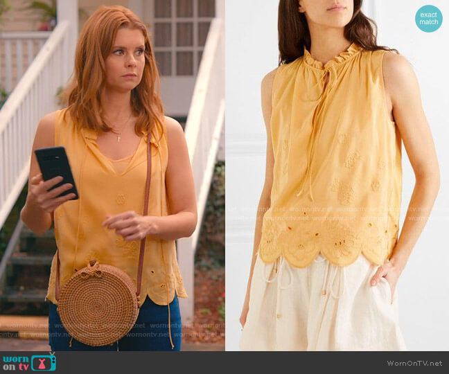 Scalloped Embroidered Voile Top by See by Chloe worn by Maddie Townsend (JoAnna Garcia Swisher) on Sweet Magnolias
