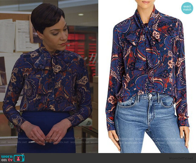 Tie-Neck Paisley-Silk Blouse by See by Chloe worn by Lucca Quinn (Cush Jumbo) on The Good Fight