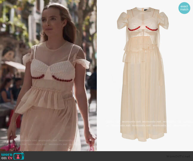 Sheer Embellished Midi Dress by Simone Rocha worn by Villanelle (Jodie Comer) on Killing Eve