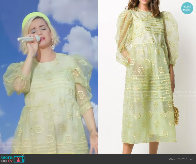 Puff-Sleeve Floral-Embroidered Dress by Simone Rocha worn by Katy Perry on GMA