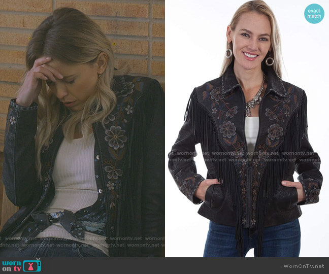 L1005 Vintage Embroidered Fringe Jacket by Scully worn by Jenna Cameron (Riley Voelkel) on Roswell New Mexico
