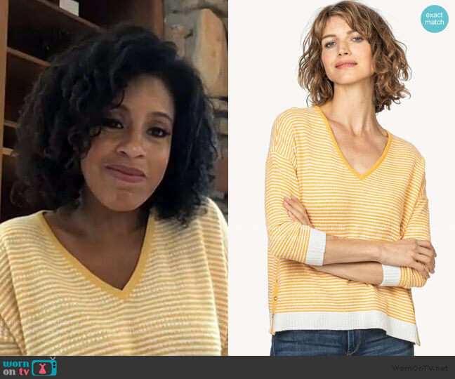 3/4 Sleeve Snap V-Neck Sweater by Lilla P worn by Sheinelle Jones  on Today