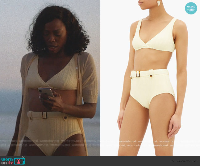 The Annie ribbed high-rise bikini briefs and Top by Solid & Striped worn by Molly Carter (Yvonne Orji) on Insecure
