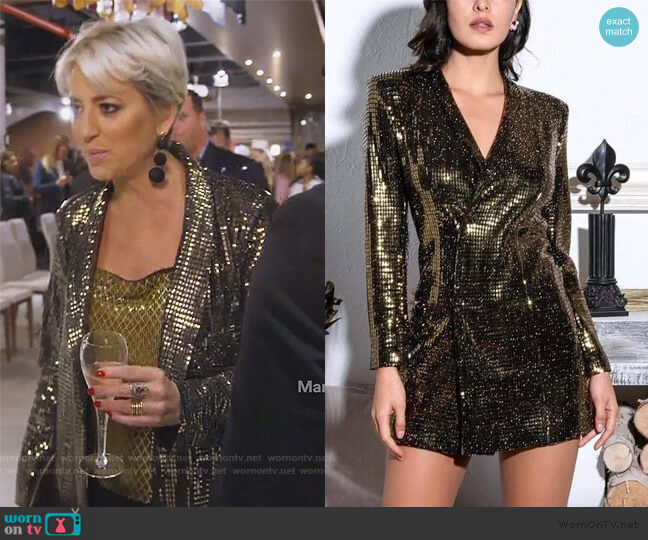Harmon Drapey Chainmail Slip Tank Top by Alice + Olivia worn by Dorinda Medley  on The Real Housewives of New York City