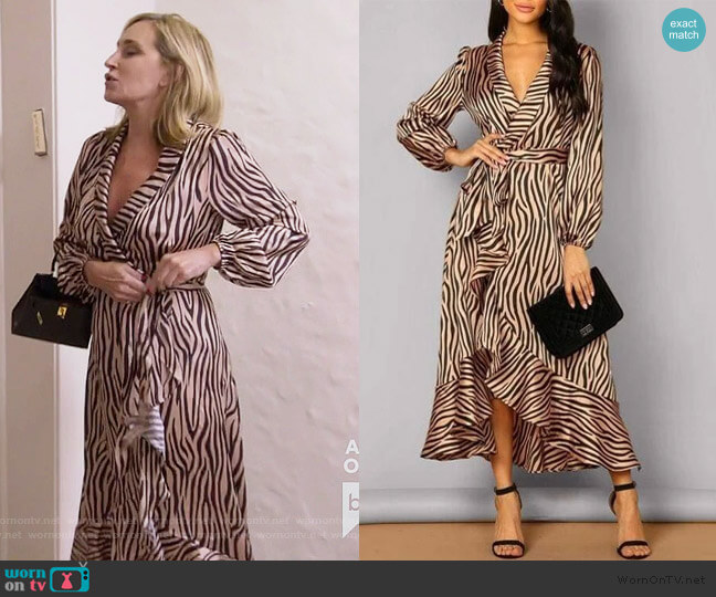 Zebra Wrap Dress by Sonja worn by Sonja Morgan  on The Real Housewives of New York City