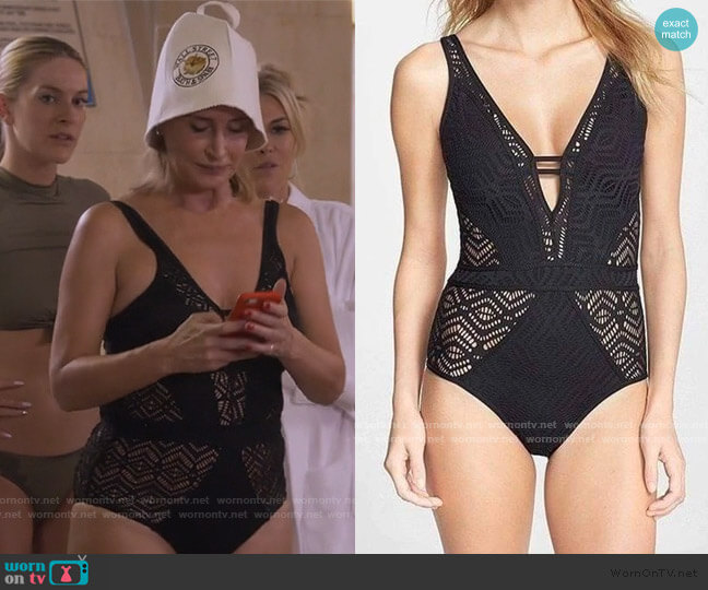 Crochet Back Tie One Piece by Sonja worn by Sonja Morgan  on The Real Housewives of New York City