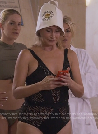 Sonja's black crochet knit swimsuit on The Real Housewives of New York City
