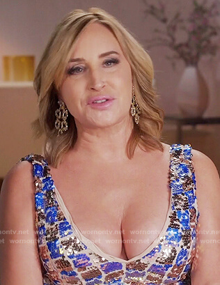 Sonja's metallic checkerboard dress on The Real Housewives of New York City