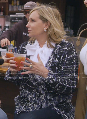 Sonja's tweed frayed jacket on The Real Housewives of New York City