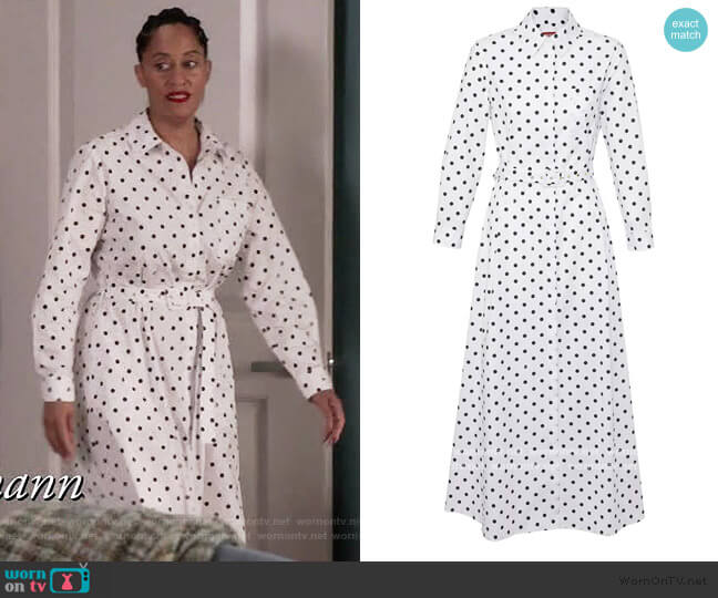 Daisy shirt dress by Staud worn by Rainbow Johnson (Tracee Ellis Ross) on Blackish