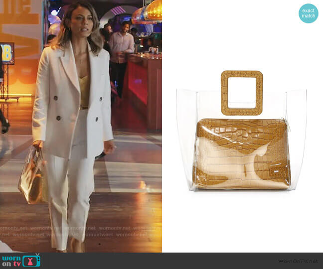 Shirley Crocodile Leather Tote by Staud worn by Noa Hamilton (Nathalie Kelley) on The Baker & the Beauty