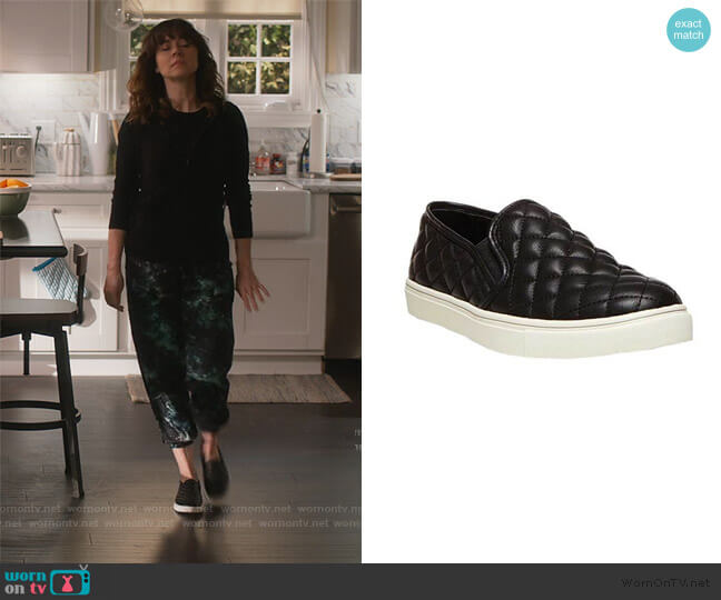 Ecentrcq Quilted Slip-on Sneaker by Steve Madden worn by Judy Hale (Linda Cardellini) on Dead to Me