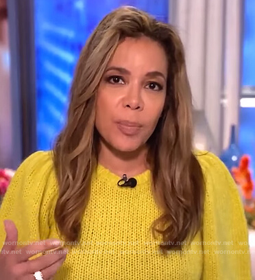 Sunny's yellow short sleeve sweater on The View