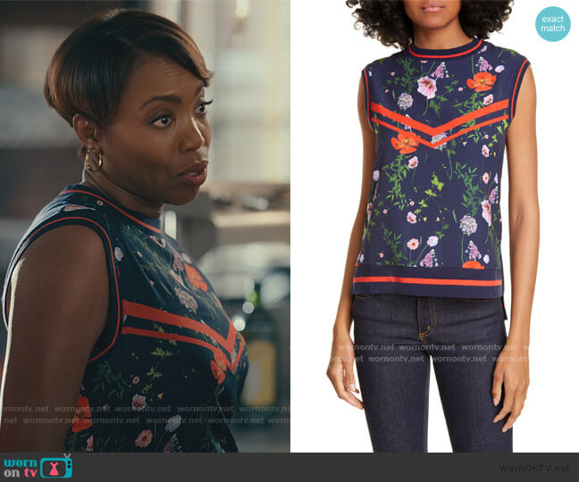 Hedgerow Ribbed Trim Top by Ted Baker worn by Helen Decatur (Heather Headley) on Sweet Magnolias