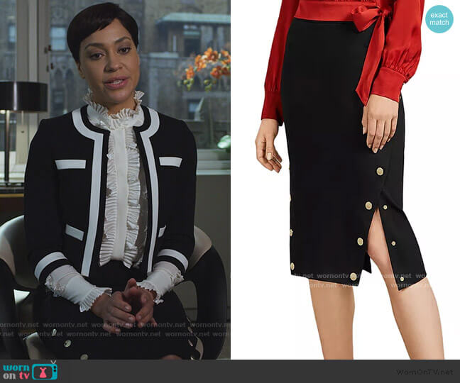 Melora Button Trim Pencil Skirt by Ted Baker worn by Lucca Quinn (Cush Jumbo) on The Good Fight