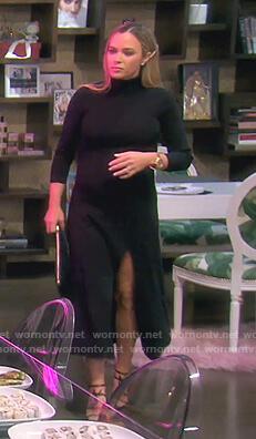 Teddi's black turtleneck slit dress on The Real Housewives of Beverly Hills