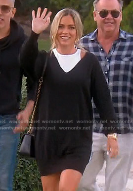 Teddi's black layered sweater dress on The Real Housewives of Beverly Hills
