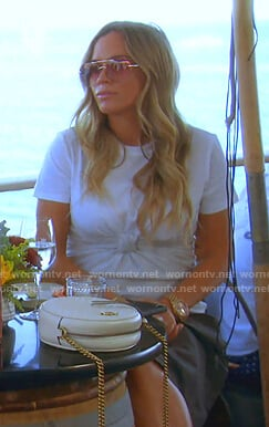 Teddi's white knot front t-shirt dress on The Real Housewives of Beverly Hills