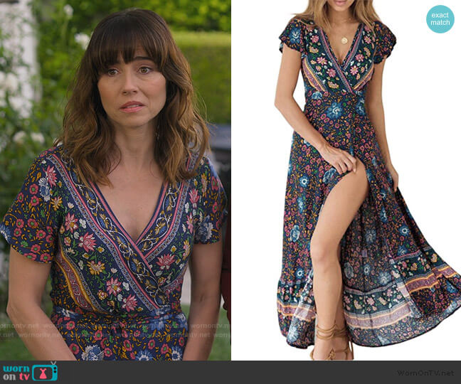 Bohemian Floral Wrap Dress by Zesica worn by Judy Hale (Linda Cardellini) on Dead to Me