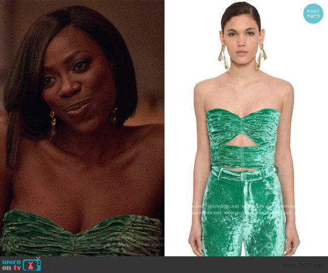 Strapless Draped Velvet Top by The Attico worn by Molly Carter (Yvonne Orji) on Insecure