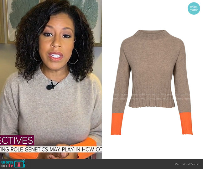 Brodie Cashmere Claudia Cuff Sweater by The House of Bruar worn by Sheinelle Jones  on Today