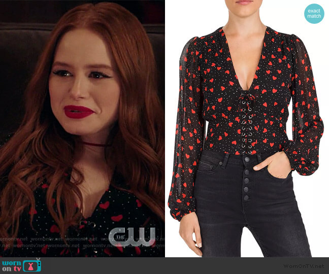 So In Love Printed Lace-Up Peplum Top by The Kooples worn by Cheryl Blossom (Madelaine Petsch) on Riverdale