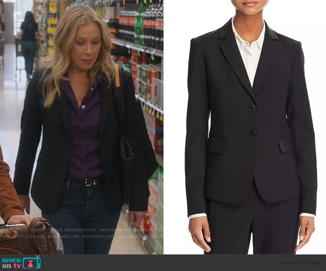 Carissa Wool-Blend Blazer by Theory worn by Jen Harding (Christina Applegate) on Dead to Me