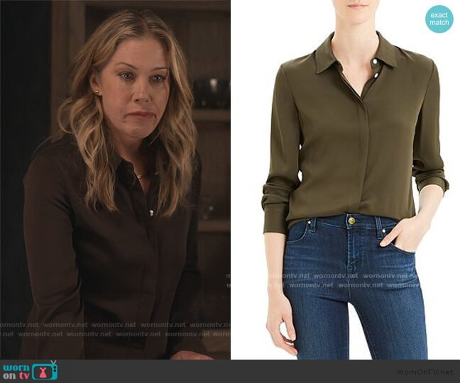 Classic Silk-Stretch Fitted Shirt by Theory worn by Jen Harding (Christina Applegate) on Dead to Me