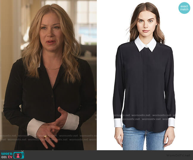 Combo Stretch Shirt by Theory worn by Jen Harding (Christina Applegate) on Dead to Me