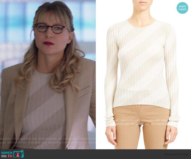 Diagonal Stripe Intarsia Silk Sweater by Theory worn by Kara Danvers (Melissa Benoist) on Supergirl