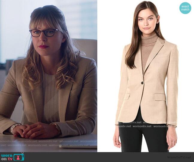 Staple Blazer in Light Camel Melange by Theory worn by Kara Danvers (Melissa Benoist) on Supergirl