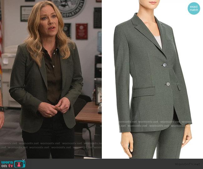 Carissa Blazer in Hunter Green Melange by Theory worn by Jen Harding (Christina Applegate) on Dead to Me