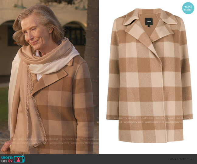 Double Faced Check Coat by Theory worn by Frances Conroy on Dead to Me
