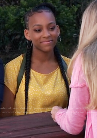 Trina's yellow polka dot top on General Hospital