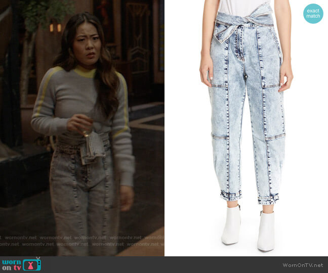 Storm Tie Waist Tapered Acid Wash Jeans by Ulla Johnson worn by Mary Hamilton (Nicole Kang) on Batwoman