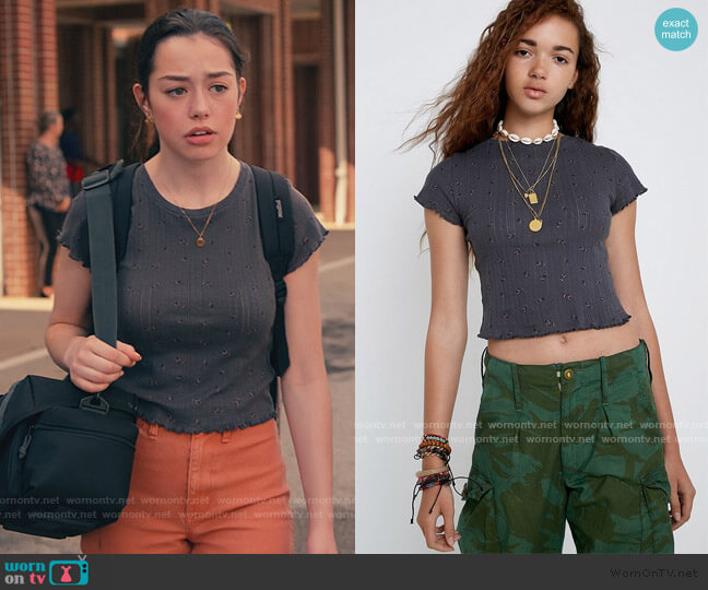 Ditsy Floral Pointelle Baby T-Shirt by Urban Outfitters worn by Annie Sullivan (Anneliese Judge) on Sweet Magnolias