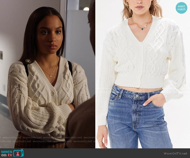 Elena Cable Knit Cardigan Sweater by Urban Outfitters worn by May Grant (Corinne Massiah) on 9-1-1