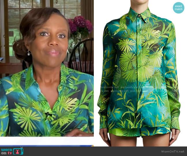 Leaf Print Shirt by Versace worn by Deborah Roberts  on Good Morning America