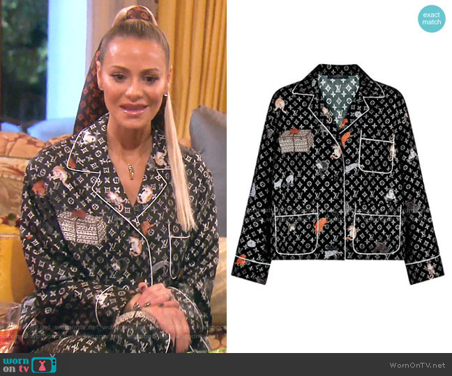 Cat Motif Pajama Shirt  - Capsule Collection by Louis Vuitton x Grace Coddington worn by Dorit Kemsley  on The Real Housewives of Beverly Hills