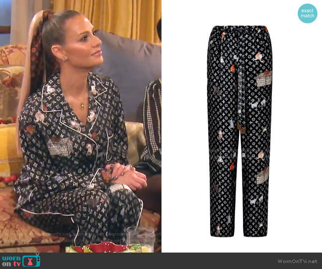 Cat Motif Pajama pants  - Capsule Collection by Louis Vuitton x Grace Coddington worn by Dorit Kemsley  on The Real Housewives of Beverly Hills