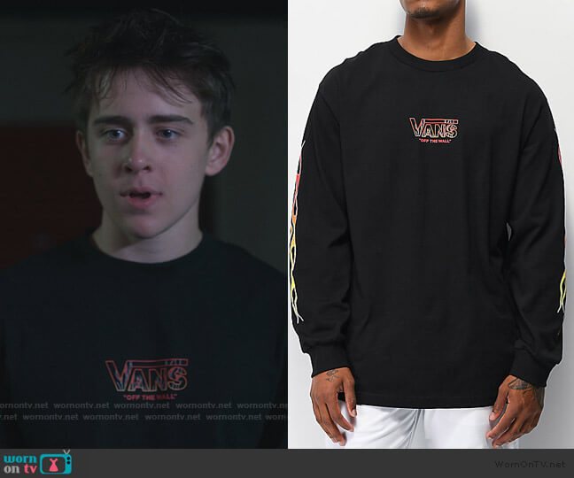 Brimstone Flame Black Long Sleeve T-Shirt by Vans worn by Sam McCarthy on Dead to Me