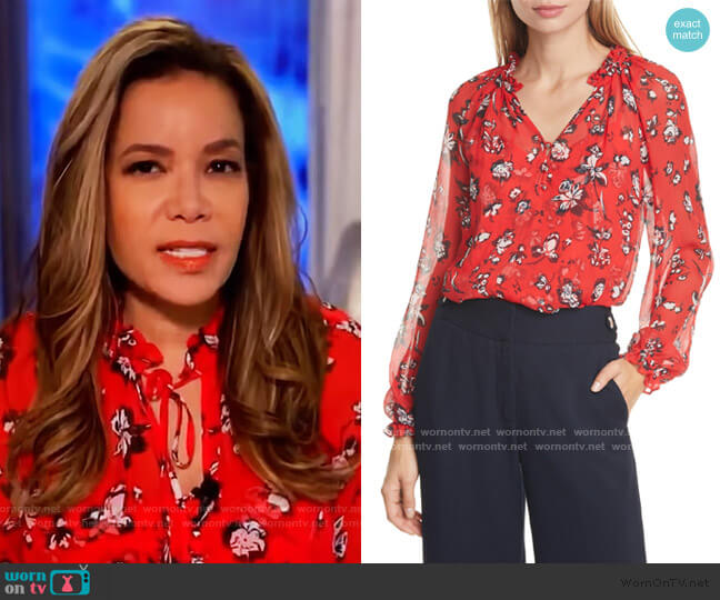Antonette Floral Silk Blouse by Veronica Beard worn by Sunny Hostin  on The View