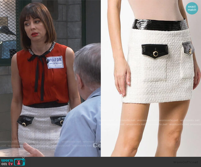 Tweed a-line Skirt by Veronica Beard worn by Elizabeth (Natasha Leggero) on Broke
